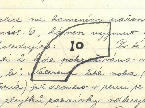 Ilustrace z deníku (kamenné pažení s číselm)